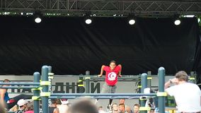 Unidentified athlete performs during the street workout championship at Moscow City Games in Luzhniki on July 23, 2016. Moscow, Russia - July 23, 2016 stock video