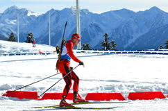 Unidentified athletes competes in IBU Regional Cup in Sochi Royalty Free Stock Image