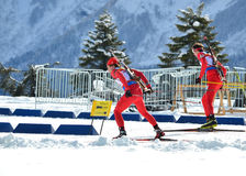 Unidentified athletes competes in IBU Regional Cup in Sochi. SOCHI, RUSSIA - FEBRUARY 9: Unidentified athletes competes in IBU Regional Cup in Sochi on February stock image