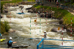 Unidentified athletes trying to route. ICF Canoe Slalom World Cu royalty free stock photos
