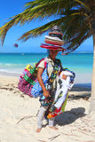 Unidentified beach vendor at Bavaro beach in Punta Cana Stock Photography