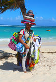 Unidentified beach vendor at Bavaro beach in Punta Cana Stock Photos