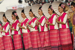 Unidentified beautiful in Thai silk in 40th Thailand University Games Stock Image