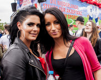 Unidentified beauty womans during Gay pride parade Stock Images