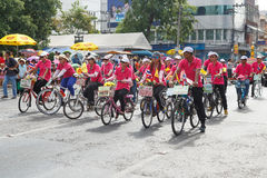 Unidentified bicycle participate parade in grand of opening the traditional candle procession festival of Buddha Stock Image