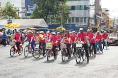 Unidentified bicycle participate parade in grand of opening the traditional candle procession festival of Buddha Royalty Free Stock Photo
