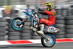 An unidentified bike rider. BUCHAREST, ROMANIA - OCT 04: An unidentified rider participates in the Romanian Supermoto Championship on Oct 04, 2015 at Crevedia in Stock Photo