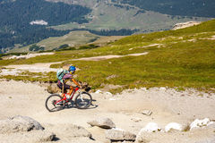 Unidentified biker climbs the hill in Bucegi Mountains in Romania Royalty Free Stock Photos