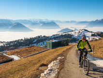 Unidentified biker at on the top of Rigi Kulm Royalty Free Stock Image