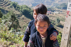 Unidentified Black Hmong tribe girls. Sapa. Vietnam Royalty Free Stock Photography