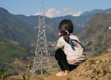 Unidentified Black Hmong tribe girls siting on mountain. Sapa. V Stock Photos