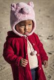 Unidentified Bolivian child on Isla del Sol, on the Titicaca lake, the largest highaltitude lake in the world 3808 mt - Bolivia royalty free stock image
