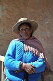 Unidentified Bolivian woman with valleys Altiplano Royalty Free Stock Photo