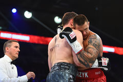 An unidentified boxers in the ring during fight for ranking points. Gdansk, Poland -September 17, 2016: An unidentified boxers in the ring during fight for Stock Images