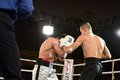 An unidentified boxers in the ring during fight for ranking points Stock Photo