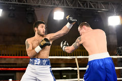 An unidentified boxers in the ring during fight for ranking points Royalty Free Stock Photos