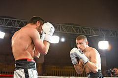 An unidentified boxers in the ring during fight for ranking points Stock Photography