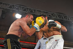 An unidentified boxers in the ring during fight for ranking points Royalty Free Stock Photography