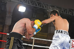 An unidentified boxers in the ring during fight for ranking points Royalty Free Stock Photo