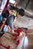 Unidentified boys at Ataturk Tomb. ANKARA, TURKEY – APRIL 16: Unidentified boys at the tomb of Mustafa Kemal Atatürk, the leader of the Turkish War of Royalty Free Stock Photography