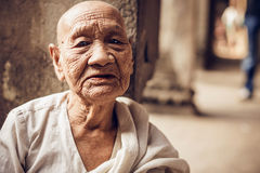 Unidentified Buddhist monk in Angkor Wat complex Royalty Free Stock Photography