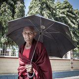 Unidentified buddhist monk in the Namdroling Monastery in Bylakuppe Stock Photos