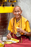 Unidentified buddhist monk is praying Royalty Free Stock Images