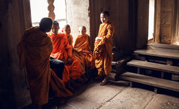 Unidentified Buddhist monks in Angkor Wat complex. ANGKOR WAT,CAMBODIA - DECEMBER 31: Unidentified Buddhist monks in Angkor Wat complex on Cambodia on December Stock Photos