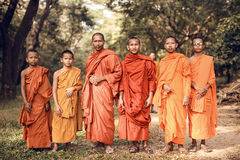 Unidentified Buddhist monks in Angkor Wat complex Stock Photography
