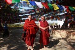 Unidentified Buddhist monks visit Mayadevi temple Royalty Free Stock Images