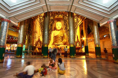 Unidentified burmese people at Shwedagon Pagada Stock Image