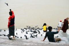 Unidentified Burmese people take selfie after visiting of Shwedagon pagoda royalty free stock image