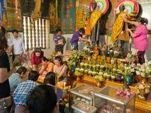 Unidentified Cambodians worshiping Buddha Stock Images