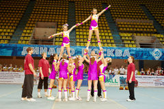 Unidentified cheerleaders team performs Royalty Free Stock Images