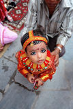 Unidentified child dressed as Kumari Stock Image