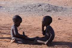 Unidentified child Himba tribe in Namibia Stock Photo