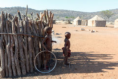 Unidentified child Himba tribe in Namibia Stock Photos
