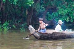 Unidentified child Kompong Phluk Stock Photography