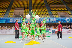 Unidentified children cheerleaders team performs Royalty Free Stock Photography