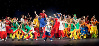 Unidentified children from dancing group Belka Royalty Free Stock Photo