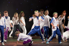 Unidentified children from dancing group Belka Stock Photos