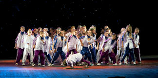 Unidentified children from dancing group Belka Royalty Free Stock Image