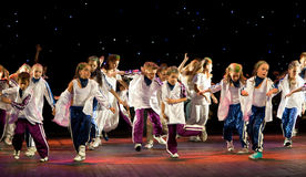 Unidentified children from dancing group Belka Royalty Free Stock Photos