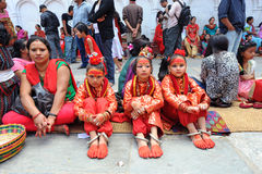 Unidentified children dressed as Kumari Stock Photos