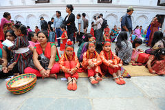 Unidentified children dressed as Kumari Royalty Free Stock Images