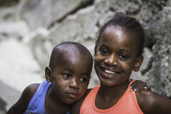 Unidentified children in Favela (slums) in Rio de Janeiro. Royalty Free Stock Photos