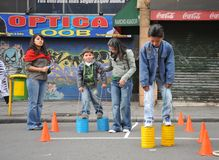Unidentified children on holiday in the city of La Paz. Stock Images