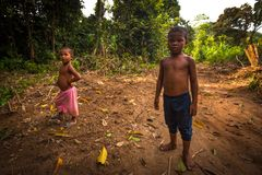 Unidentified children Orang Asli in his village in Berdut, Malaysia. Royalty Free Stock Images