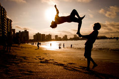 Unidentified Children practicing Parkour Royalty Free Stock Images