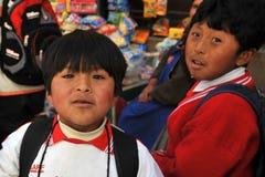 Unidentified children on street of Potosi Royalty Free Stock Photos